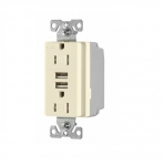 3.1 Amp USB Charger w/ Receptacle, Combo, Tamper Resistant, Almond