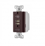 3.1 Amp USB Charger w/ Receptacle, Combo, Tamper Resistant, Brown