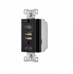 3.1 Amp USB Charger w/ Receptacle, Combo, Tamper Resistant, Black
