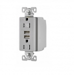 3.1 Amp USB Charger w/ Receptacle, Combo, Tamper Resistant, Grey
