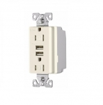 3.1 Amp USB Charger w/ Receptacle, Combo, Tamper Resistant, Light Almond