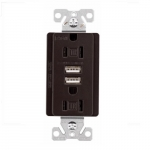 15 Amp Dual USB Charger w/ Duplex Receptacle, Tamper Resistant, Oil Rubbed Bronze