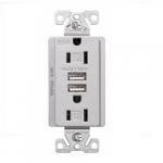 15 Amp Dual USB Charger w/ Duplex Receptacle, Tamper Resistant, Silver Granite