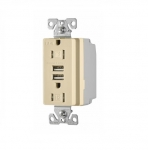 3.1 Amp USB Charger w/ Receptacle, Combo, Tamper Resistant, Ivory