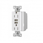 3.1 Amp USB Charger w/ Receptacle, Combo, Tamper Resistant, White