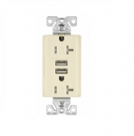 3 Amp USB Charger w/ Receptacle, Combo, Tamper Resistant, Almond
