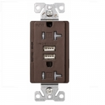 20 Amp Dual USB Charger w/ Duplex Receptacle, Tamper Resistant, Oil Rubbed Bronze