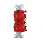 15 Amp Duplex Receptacle, Flush Mount, 2-Pole, Red