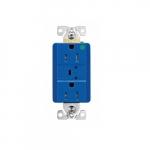 15 Amp Surge Protection Receptacle w/Audible Alarm & LED Indicators, Blue