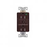 15 Amp Surge Protection Receptacle w/Audible Alarm & LED Indicators, Brown