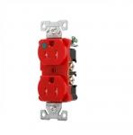 15 Amp Duplex Receptacle w/ Terminal Guards, Decora, Red