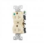 20 Amp Duplex Receptacle, NEMA 5-20R, 2-Pole, Ivory