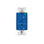 20 Amp Surge Protection Receptacle w/Audible Alarm & LED Indicators, Blue