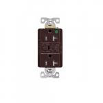 20 Amp Surge Protection Receptacle w/Audible Alarm & LED Indicators, Brown