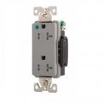20 Amp Duplex Receptacle, Tamper Resistant, 2-Pole, Grey