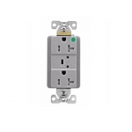 20 Amp Surge Protection Receptacle w/Audible Alarm & LED Indicators, Gray