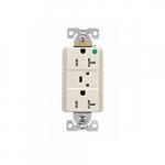 20 Amp Surge Protection Receptacle w/Audible Alarm & LED Indicators, Light Almond
