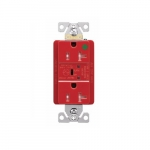 20 Amp Surge Protection Receptacle w/Audible Alarm & LED Indicators, Red