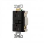 15 Amp AFGF Receptacle, 2-Pole, Duplex, Black