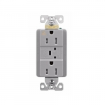 15 Amp Surge Protection Receptacle w/Audible Alarm & LED Indicators, Gray