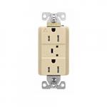 15 Amp Surge Protection Receptacle w/Audible Alarm & LED Indicators, Ivory