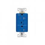 20 Amp Surge Protection Receptacle w/Alarm & LED Indicators, Commercial Grade, Blue