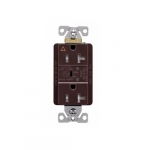 20 Amp Surge Protection Receptacle w/Alarm & LED Indicators, Commercial Grade, Brown