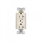 20 Amp Surge Protection Receptacle w/Alarm & LED Indicators, Commercial, Light Almond