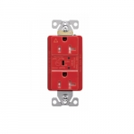 20 Amp Surge Protection Receptacle w/Alarm & LED Indicators, Commercial Grade, Red
