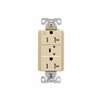 20 Amp Surge Protection Receptacle w/Alarm & LED Indicators, Commercial Grade, Ivory