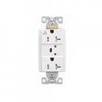 20 Amp Surge Protection Receptacle w/Alarm & LED Indicators, Commercial Grade, White
