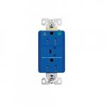 15 Amp Surge Protection Receptacle w/Alarm & LED Indicators, Hospital Grade, Blue