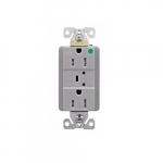 15 Amp Surge Protection Receptacle w/Alarm & LED Indicators, Hospital Grade, Gray