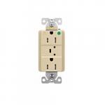 15 Amp Surge Protection Receptacle w/Alarm & LED Indicators, Hospital Grade, Ivory