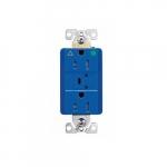20 Amp Surge Protection Receptacle w/Alarm & LED Indicators, Hospital Grade, Blue