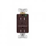 20 Amp Surge Protection Receptacle w/Alarm & LED Indicators, Hospital Grade, Brown