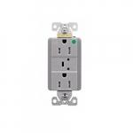 20 Amp Surge Protection Receptacle w/Alarm & LED Indicators, Hospital Grade, Gray