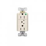 20 Amp Surge Protection Receptacle w/Alarm & LED Indicators, Hospital Grade, Light Almond