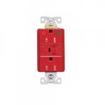 20 Amp Surge Protection Receptacle w/Alarm & LED Indicators, Hospital Grade, Red