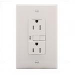 15 Amp Tamper Resistant Duplex GFCI NAFTA-Compliant Outlet, White