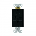15 Amp Tamper Resistant Duplex GFCI Outlet w/ Audible Alarm, Black