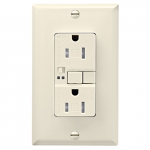 15 Amp Tamper Resistant Duplex GFCI Outlet w/ Audible Alarm, Light Almond