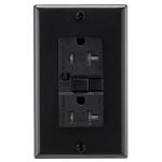 20 Amp Tamper Resistant Duplex GFCI Outlet w/ Audible Alarm, Black