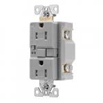 20 Amp Tamper Resistant Duplex GFCI Outlet w/ Audible Alarm, Gray