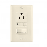 15 Amp Tamper Resistant GFCI Outlet/Switch Combination, Mid-Size, Lt. Alm.