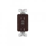 15 Amp Duplex Receptacle w/USB Charger, Tamper Resistant, Brown