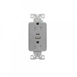 15 Amp Duplex Receptacle w/USB Charger, Tamper Resistant, Gray