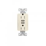 15 Amp Duplex Receptacle w/USB Charger, Tamper Resistant, Light Almond