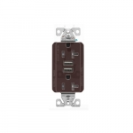 20 Amp Duplex Receptacle w/USB Charger, Tamper Resistant, Brown