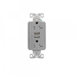 20 Amp Duplex Receptacle w/USB Charger, Tamper Resistant, Gray